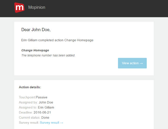 Mopinion: 4 effective tools for putting online feedback into action - Mopinion Action Alert