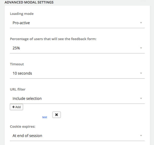 Mopinion: How to build the best online feedback forms - Advance Modal Settings