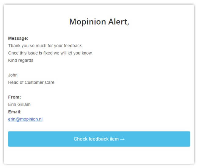 Mopinion: 4 effective tools for putting online feedback into action - Mopinion alert email