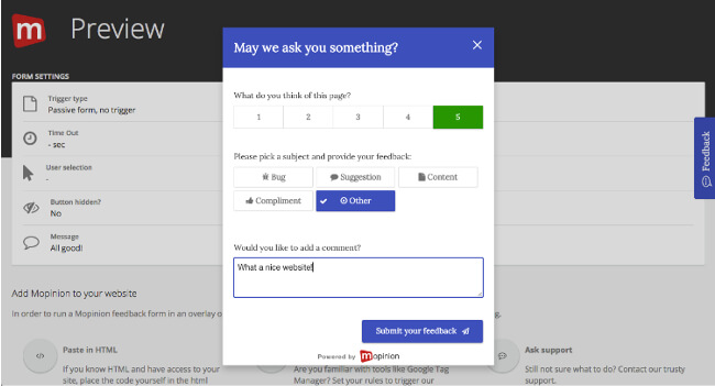 Mopinion: How to build the best online feedback forms - Preview Mode