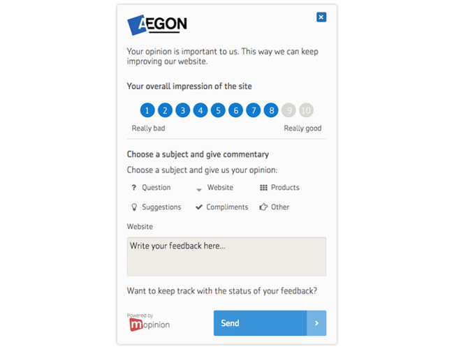 Mopinion: Passive versus Active online feedback forms - Aegon - Triggered feedback form
