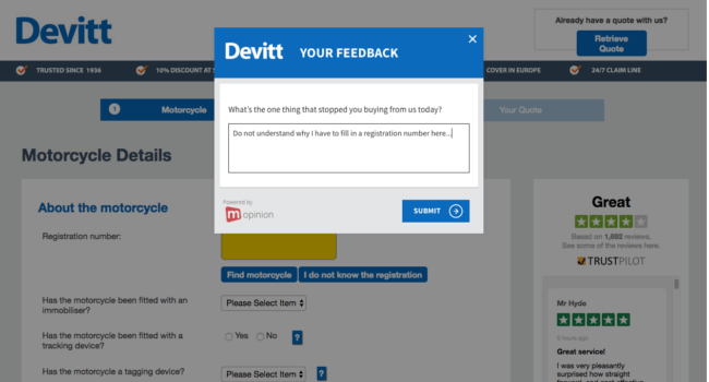 Mopinion: Customer Success Story – Devitt Insurance: Optimising the customer journey  - Exit Feedback Form