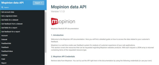 Mopinion: June Product Update - API documentation