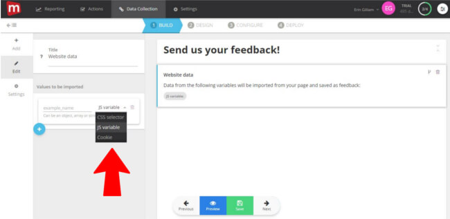 Mopinion: Mopinion adds new feature to append 'website data' to feedback - Choose data variable
