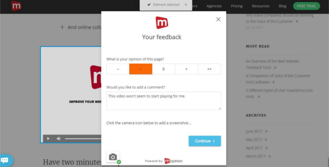 Mopinion: Improve your inbound marketing strategy using online feedback - Visual Feedback