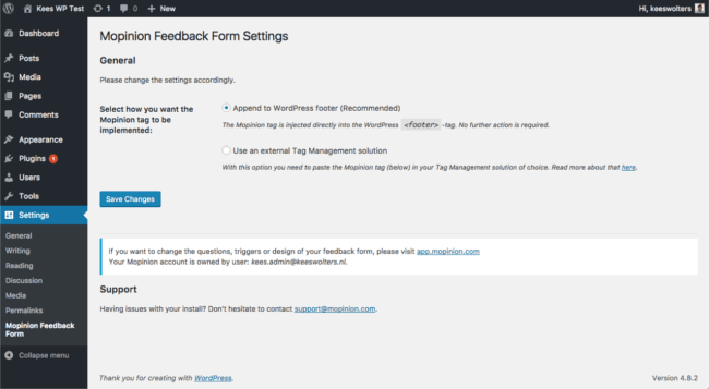 Mopinion: Mopinion now offers a feedback plugin for WordPress - Feedback form settings