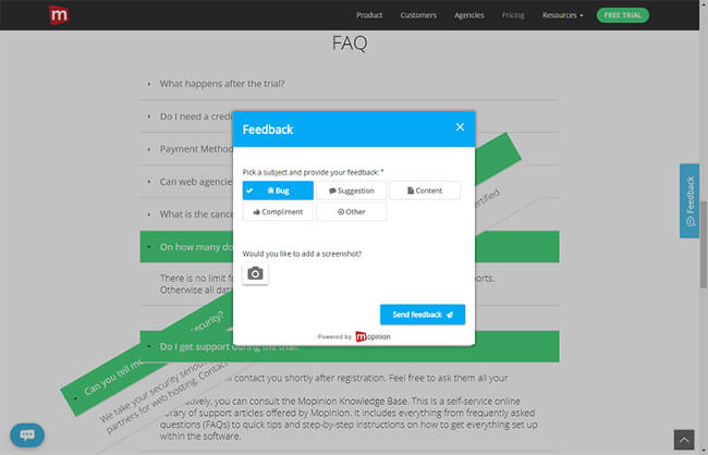 Mopinion: User Feedback: The Secret to Successful User Onboarding - Feedback form
