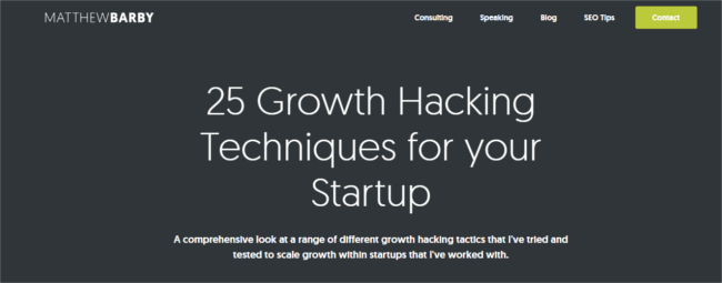 Mopinion: 10 Must-Read Guides for the Aspiring Growth Hacker - Matthew Barby Guide