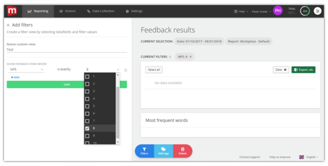 Mopinion: Mopinion launches customisable inbox filters and views - Select a field and value