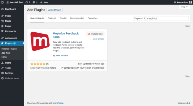 Mopinion: How to install a feedback form in WordPress - Adding a plugin