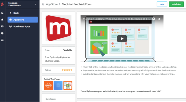 Mopinion: Mopinion app integration now available in Lightspeed app store - Mopinion in app store
