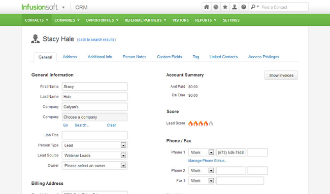Mopinion: Top 15 Best Enterprise CRM Software - InfusionSoft CRM