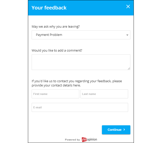 Mopinion: How to Lower Customer Churn Rates with Digital Feedback - Exit intent