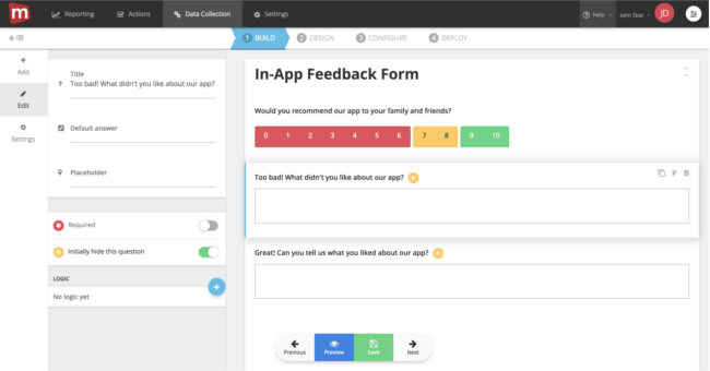 September Product Update: introducing form logic for in-app feedback
