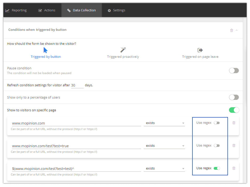 Mopinion: September Product Update - Regex switch works automatically