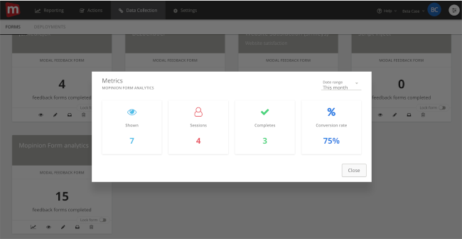 Mopinion: November Product Update: introducing new metrics to monitor your feedback forms - Form Analytics