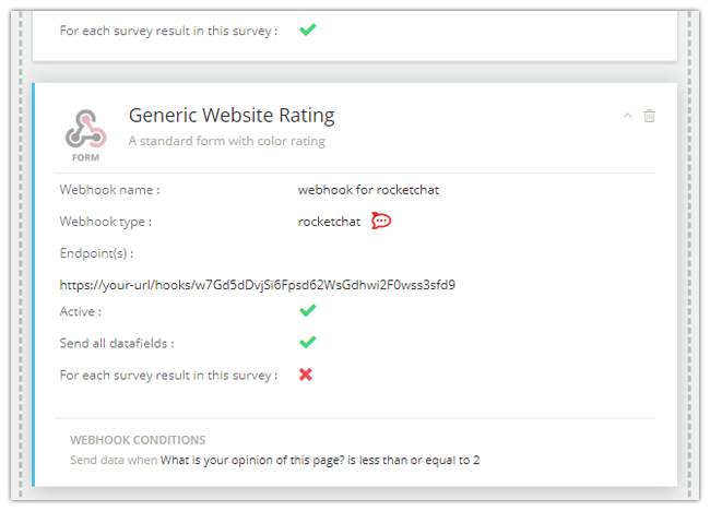 Mopinion: Mopinion note integrates with chat software solution Rocket.Chat - Saved webhook