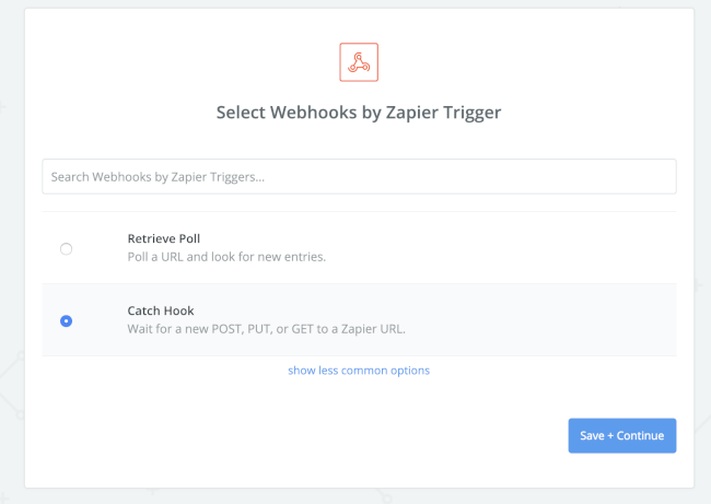 Mopinion: How to integrate user feedback data with Zapier (using Mopinion webhooks) - Select Catch hook
