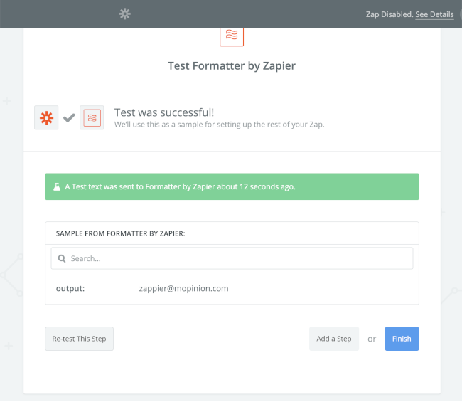 Mopinion: How to integrate user feedback data with Zapier (using Mopinion webhooks) - email output test was successful