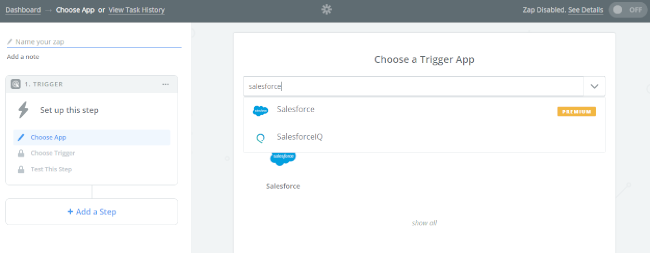 Mopinion: Integrate Mopinion with Salesforce using Zapier - Add Salesforce app