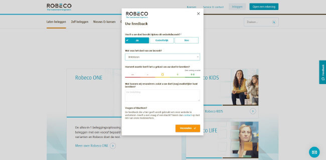 Mopinion: A sound investment: How Robeco improves the online experience with customer feedback - Robeco Feedback Form 2