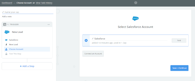 Mopinion: Integrate Mopinion with Salesforce using Zapier - Select SalesForce Account