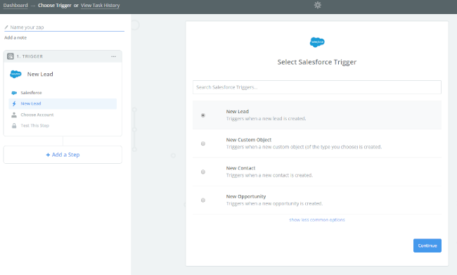 Mopinion: Integrate Mopinion with Salesforce using Zapier - Select Salesforce Trigger