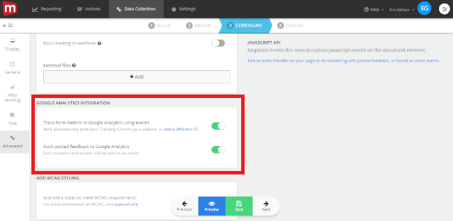 Mopinion: Push customer feedback results directly to Google Analytics - Toggles ON and OFF