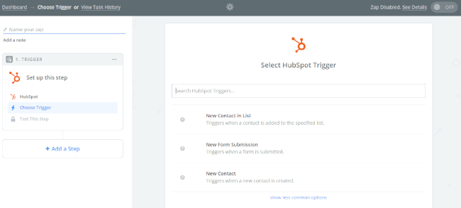 Mopinion: Integrate Mopinion with HubSpot CRM using Zapier - Select HubSpot trigger