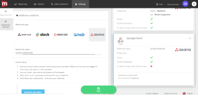 Mopinion: Tying it all together: Mopinion launches new integration with Asana - Select Webhook Type