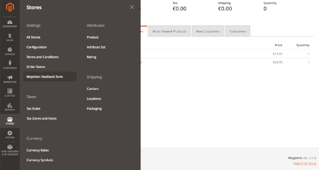 Mopinion: How to Install a Feedback Form in Magento - Settings
