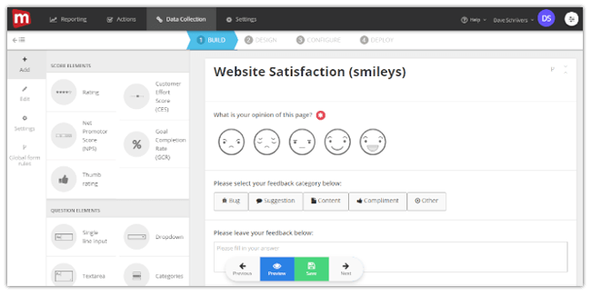 Mopinion: Introducing our new feedback form translation feature - Create new form