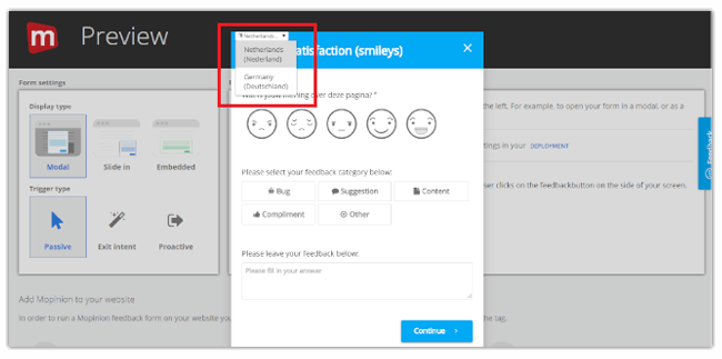 Mopinion: Introducing our new feedback form translation feature - Change Language Selection