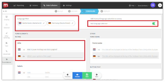 Mopinion: Introducing our new feedback form translation feature - Add new translation