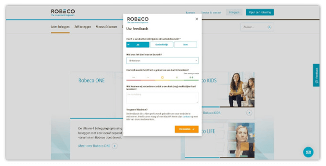 Mopinion: Tips for Optimising the Online Customer Journey for Financial Institutions - Robeco Feedback Form
