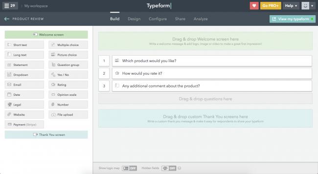 Typeform online survey software
