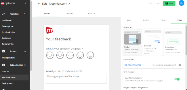 Mopinion: Is user feedback the missing ingredient to SaaS software testing? -  form builder