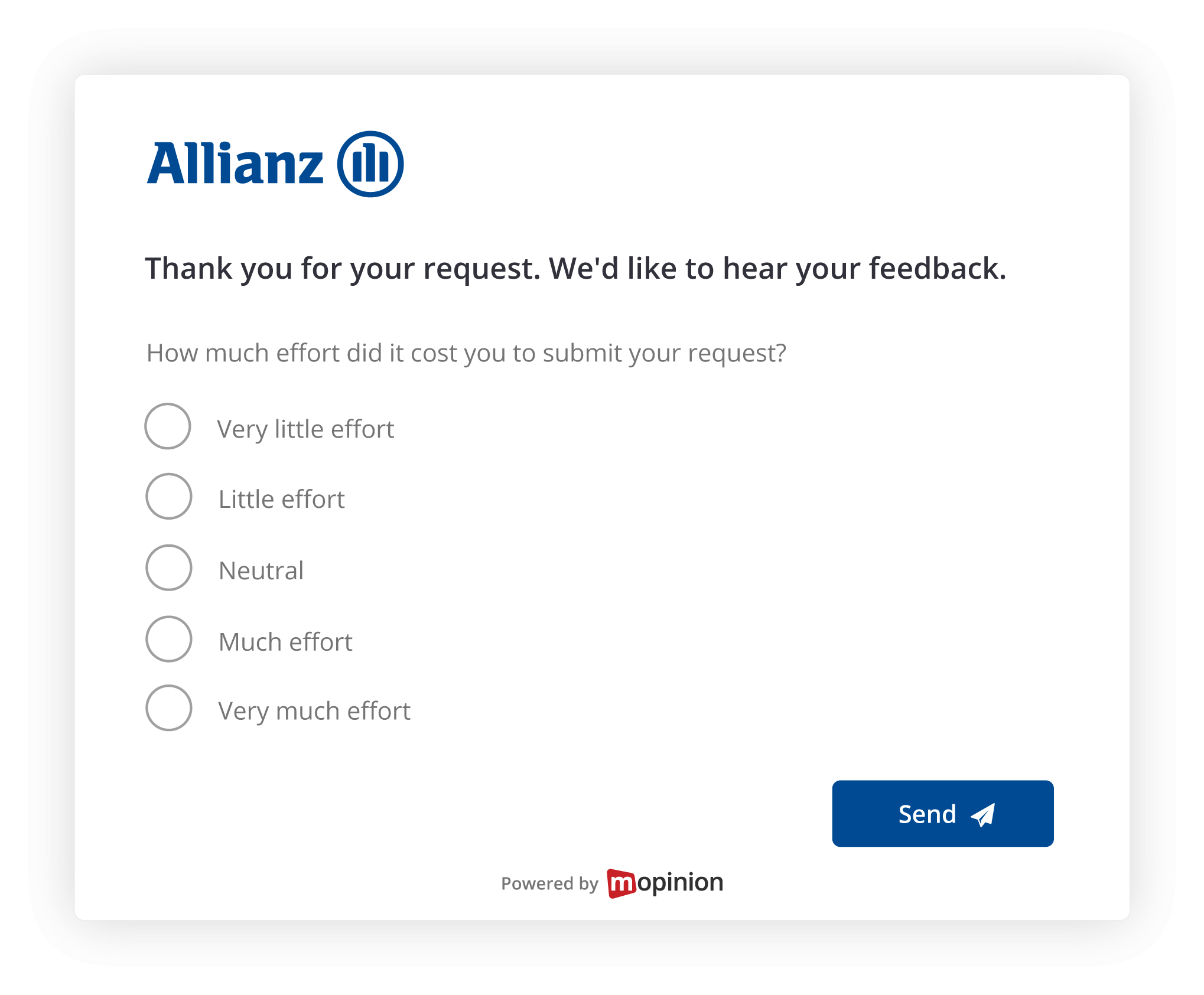Hoe Allianz Mopinion klantfeedback benut voor conversie optimalisatie - feedback formulier
