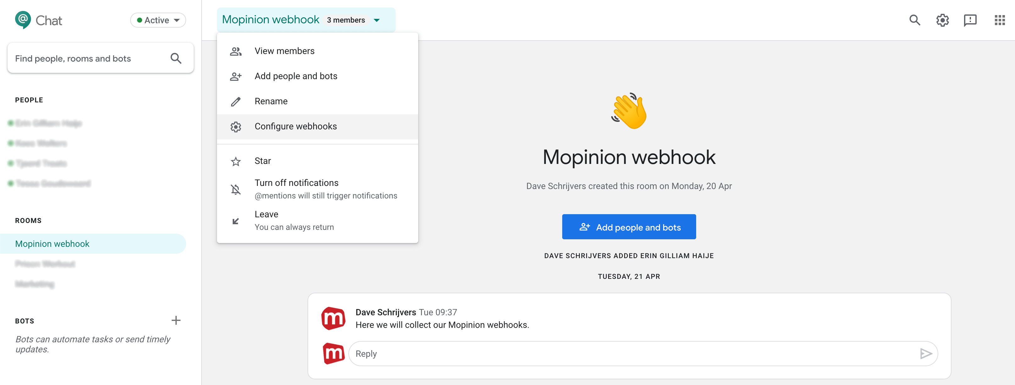 Mopinion: Mopinion now integrates with messaging platform Google Chat - Create webhook