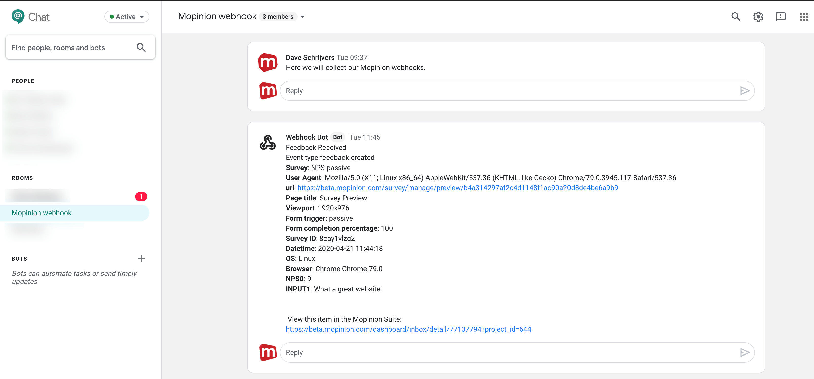 Mopinion: Mopinion now integrates with messaging platform Google Chat - Webhooks sent