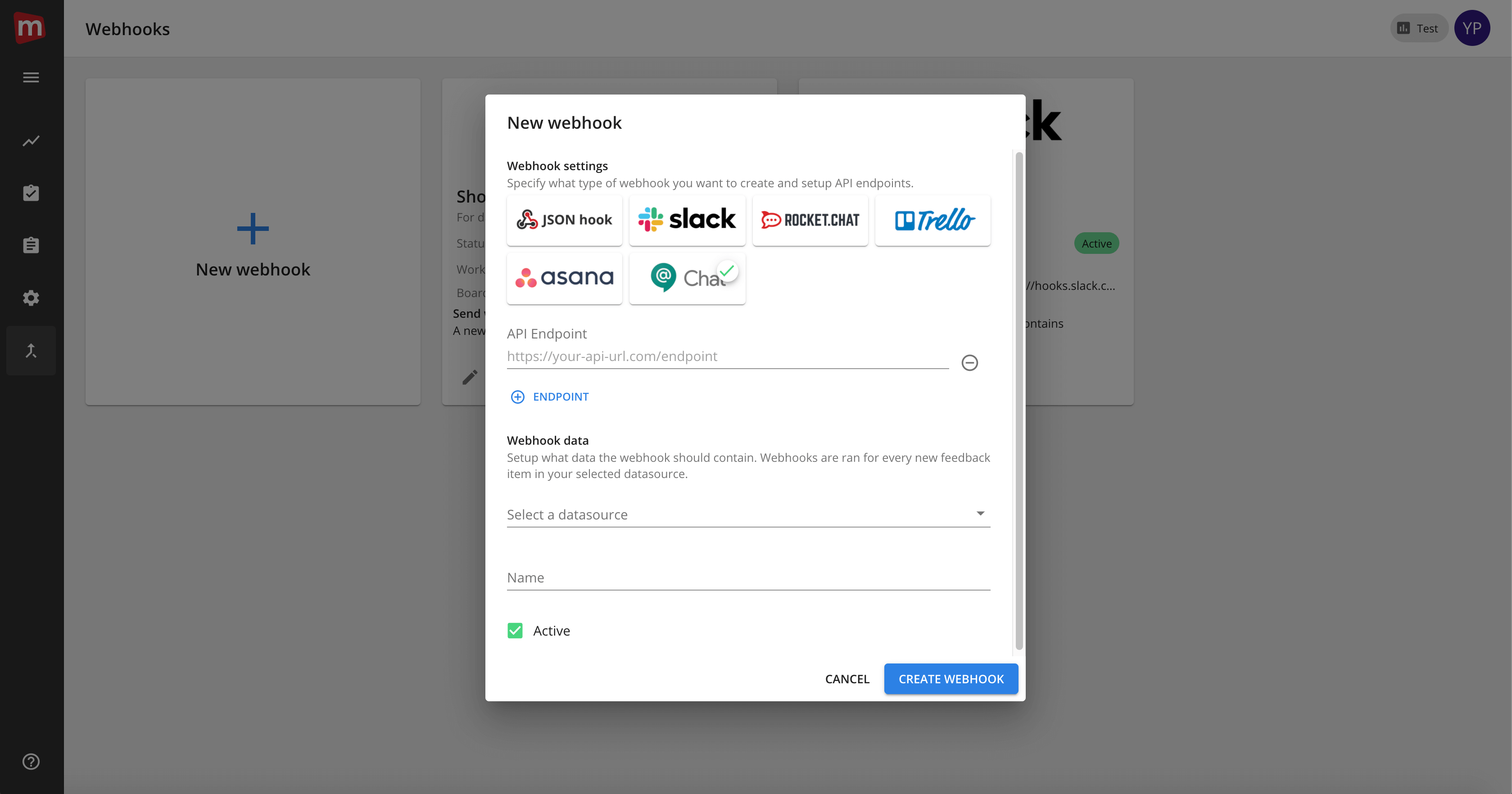 Mopinion: Mopinion now integrates with messaging platform Google Chat - Webhooks settings page
