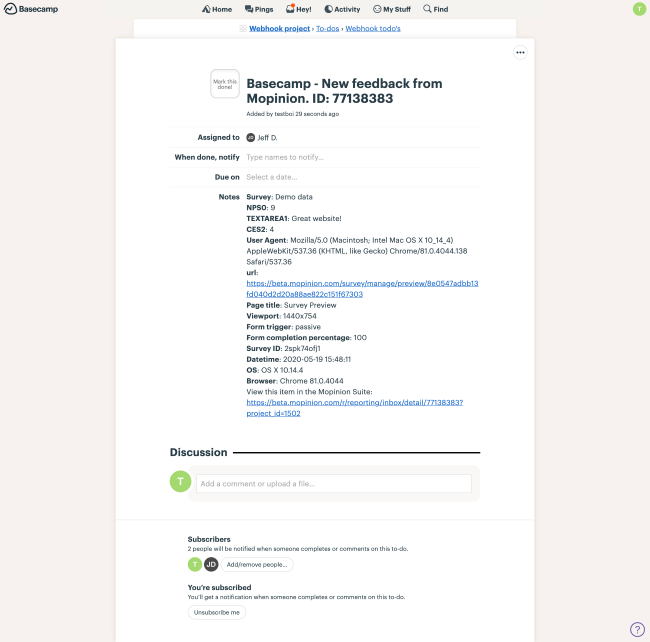 Mopnion: Mopinion integrates with collaboration app Basecamp - Basecamp new feedback