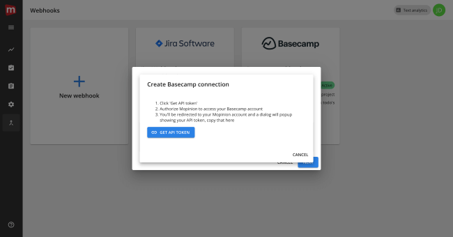 Mopnion: Mopinion integrates with collaboration app Basecamp - Create Basecamp connection