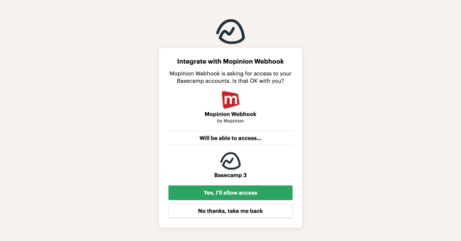 Mopnion: Mopinion integrates with collaboration app Basecamp -Grant access