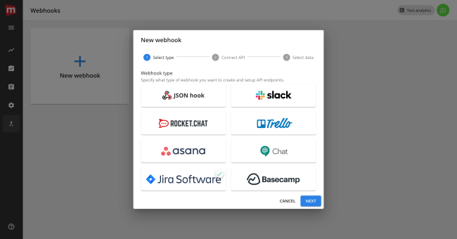 Mopinion: Mopinion integrates with Atlassian's issue tracking tool JIRA - Select JIRA
