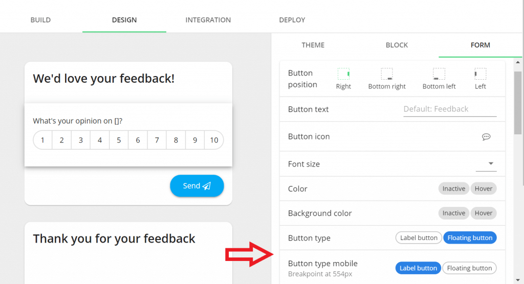 July Product Update: brand new survey flow, Salesforce integration and more - Floating button