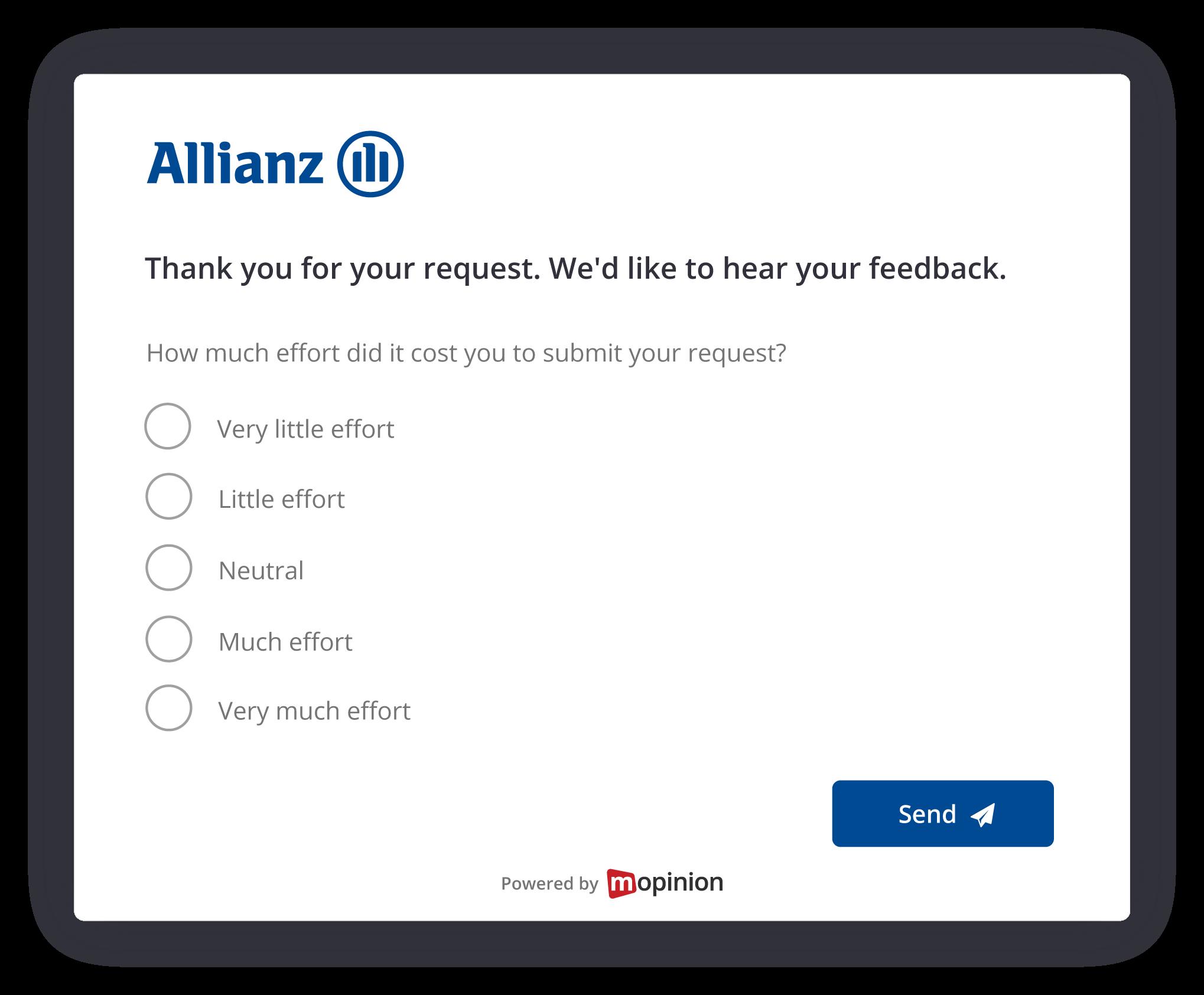 CES VoC Survey on Allianz website