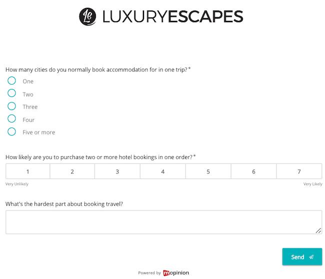 Mopinion: Luxury Escapes - strategic feedback form
