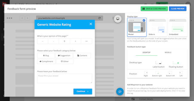 December product update: Example of a modal form preview page