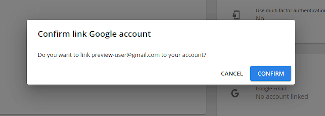 December product update: Social Sign-on confirm link google account
